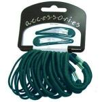 BOTTLE GREEN 20 PIECE ELASTIC AND CLIP SET