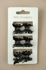 SIX black butterfly mini hair clamps8314