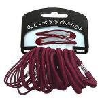 BURGUNDY 20 PIECE ELASTIC AND SNAP CLIP SET