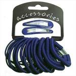 NAVY BLUE 20 PIECE SET OF ELASTICS & CLIPS