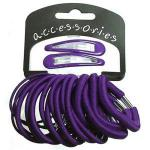 20 piece purple hair elastic and snap clip set